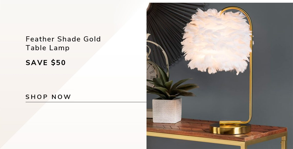 Feather Shade Gold Metal Table Lamp | SHOP NOW