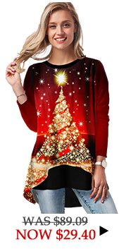 Christmas Tree Print Round Neck T Shirt