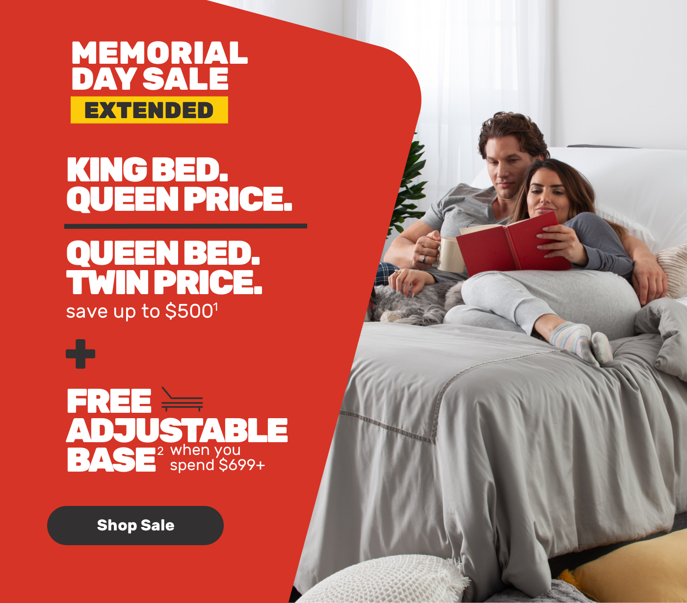 MEMORIAL DAY Queen extended Queen bed Twin price save upto $500 - Free adjustable base when you spend $699