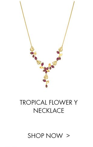 Tropical Flower Y Necklace