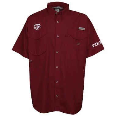 Texas A&M Aggies Columbia PFG Bonehead Short Sleeve Shirt - Maroon