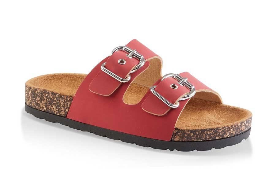 Double Buckle Footbed Slides