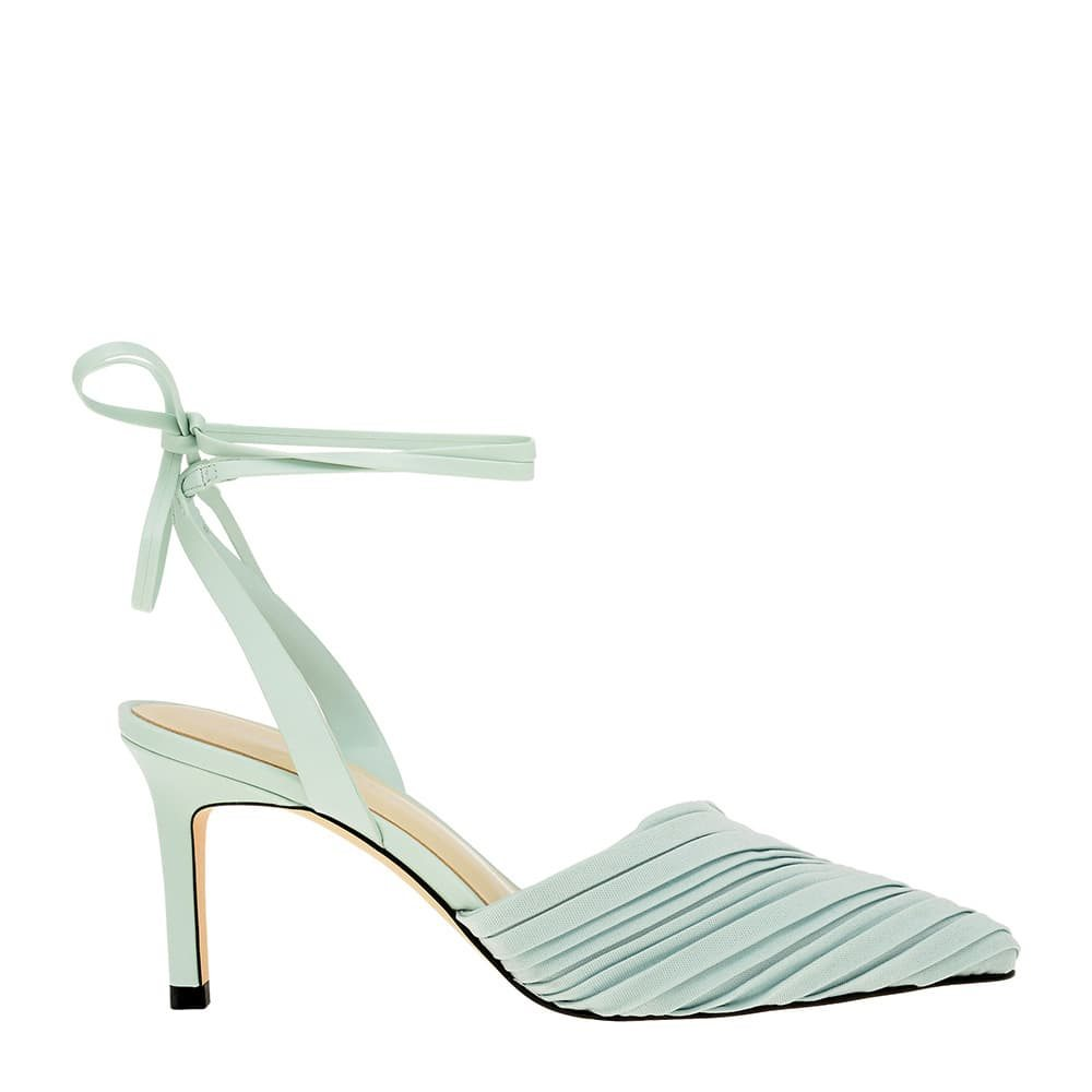 Pleated Ankle Tie Stiletto Pumps