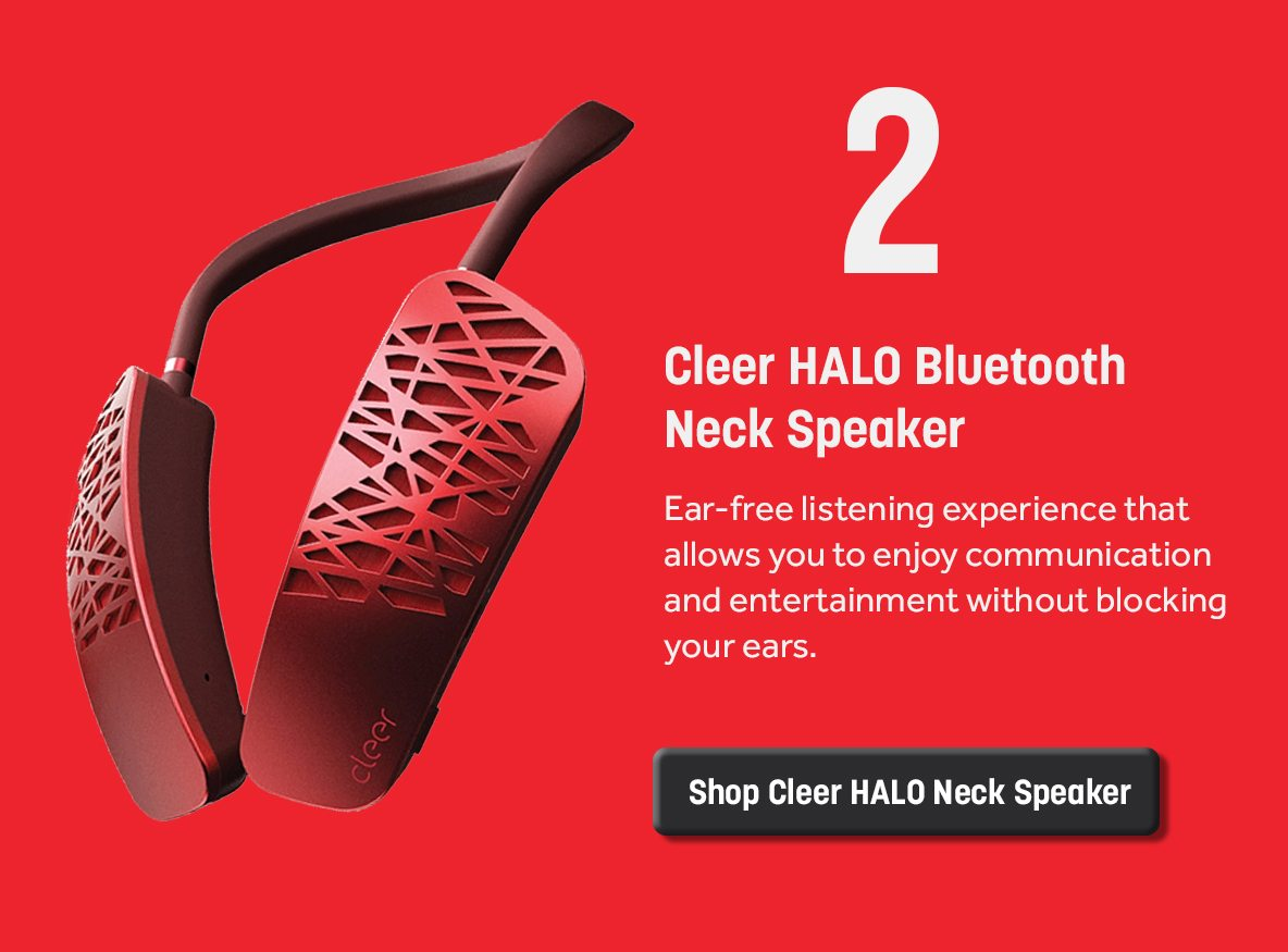 Cleer HALO Smart Wearable Bluetooth Neck Speaker with Google Assistant - Red