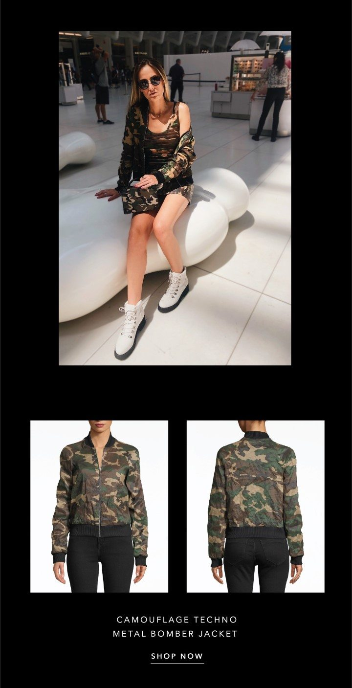 camouflage techno metal bomber jacket