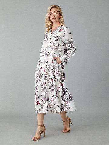 Flower Print V-neck Dress