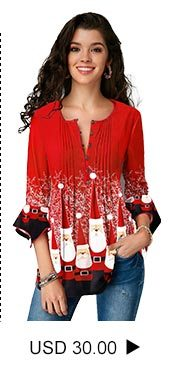 Flare Cuff Christmas Print Crinkle Chest Blouse