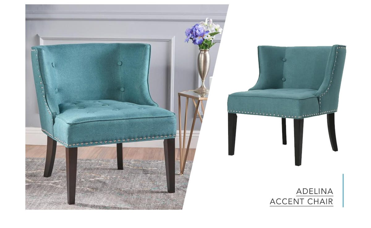 Adelina Dark Teal and Dark Brown Upholstered Nailhead Trim Accent Chair   SHOP NOW