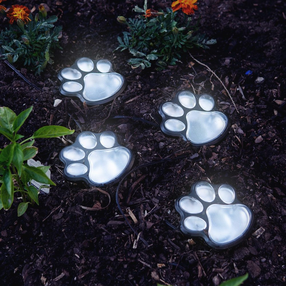 Image of Path To My Heart Paw Prints Solar Garden Lights