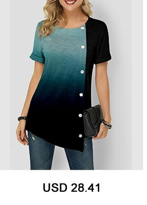 Dazzle Color Notch Neck Curved Hem Blouse