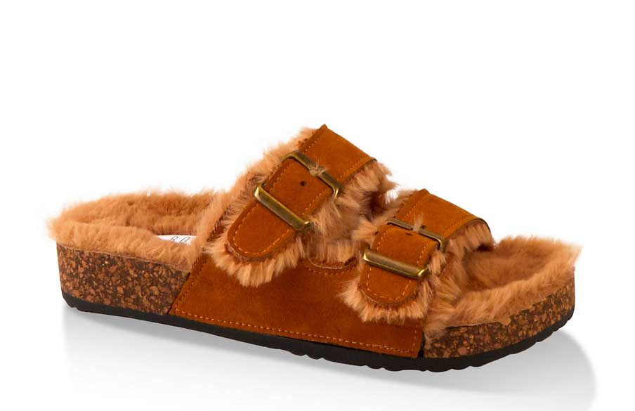 Faux Fur Lined Footbed Sandals