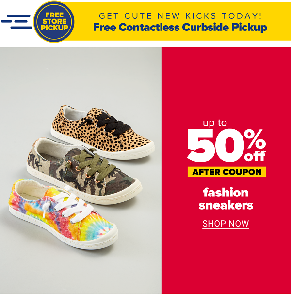 Up to 50% off fashion sneakers - after coupon. Shop Now.