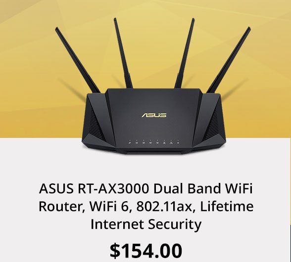 ASUS RT-AX3000 Dual Band WiFi Router, WiFi 6, 802.11ax, Lifetime Internet Security
