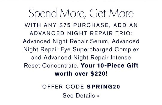 Spend More, Get More | Offer Code SPRING20