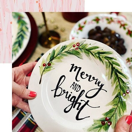Hand Painted Calligraphy Christmas Wreath Side Plate