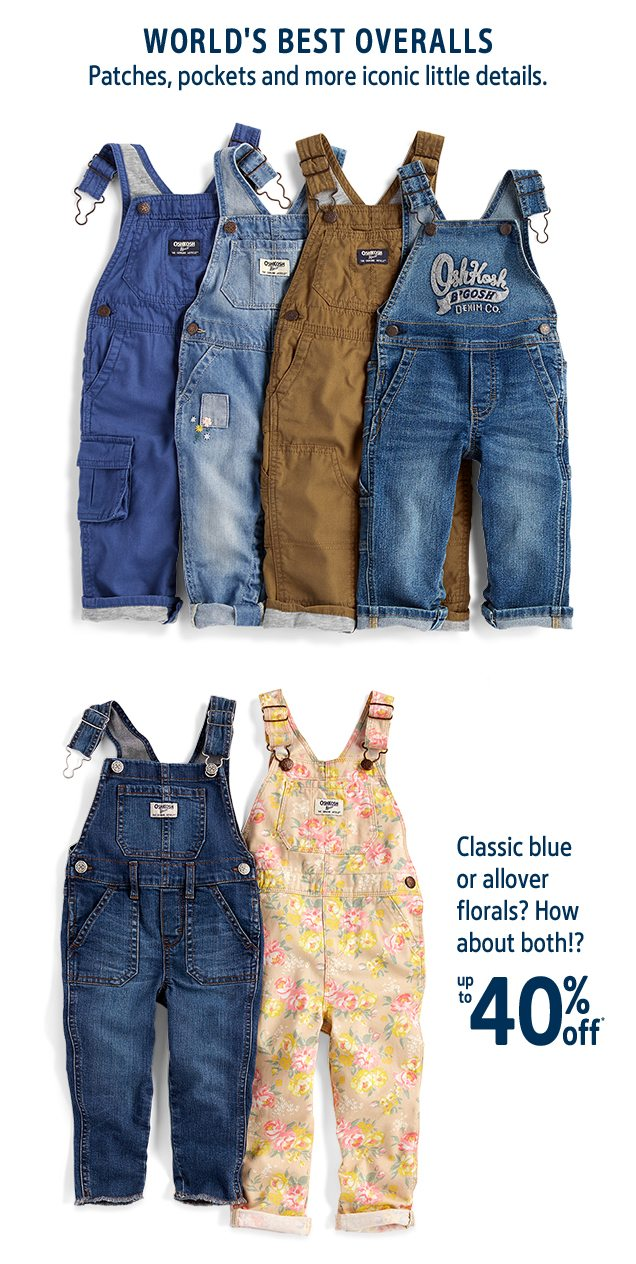 WORLD'S BEST OVERALLS | Patches, pockets and more iconic little details. | Classic blue or allover florals? How about both!? | up to 40% off*