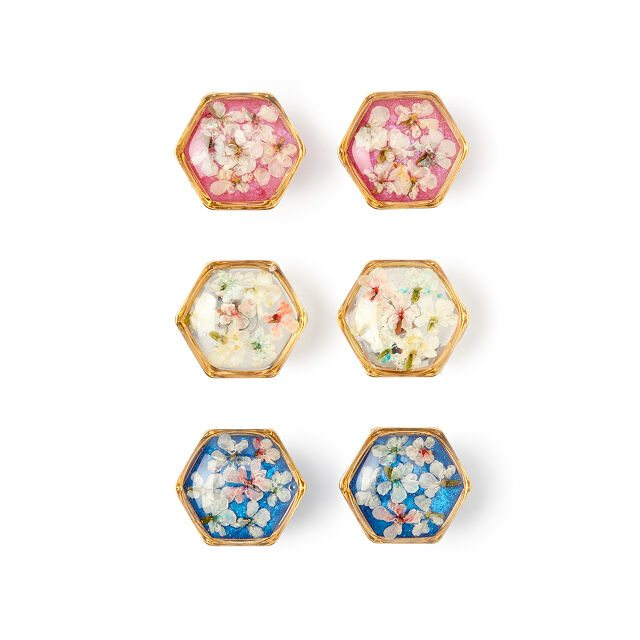 Birth Stone Color Floral Studs