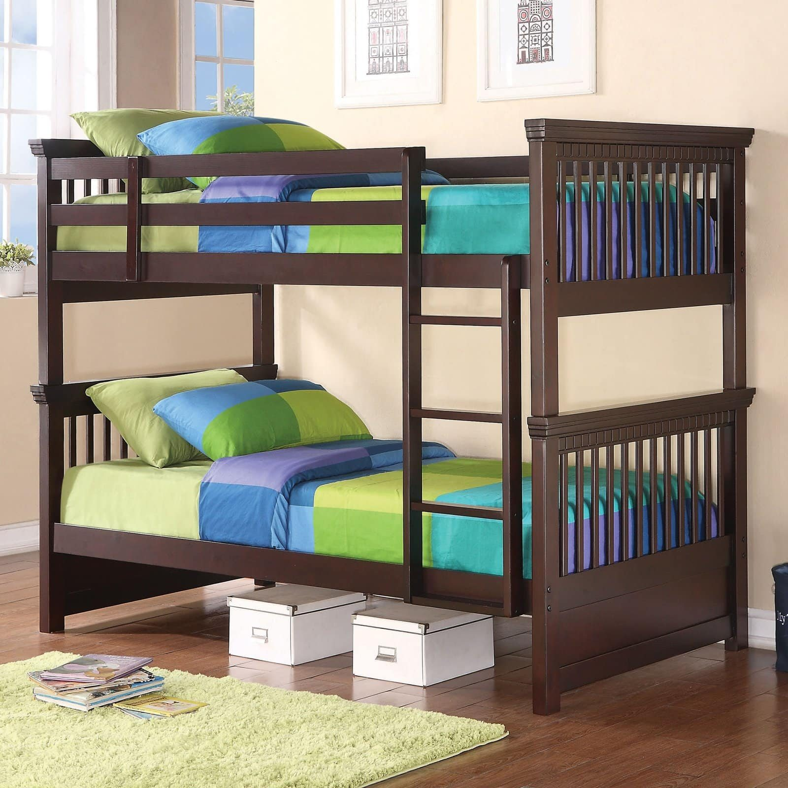 Oliver Twin Bunk Bed with Spindle Headboard and Footboard - Cappuccino