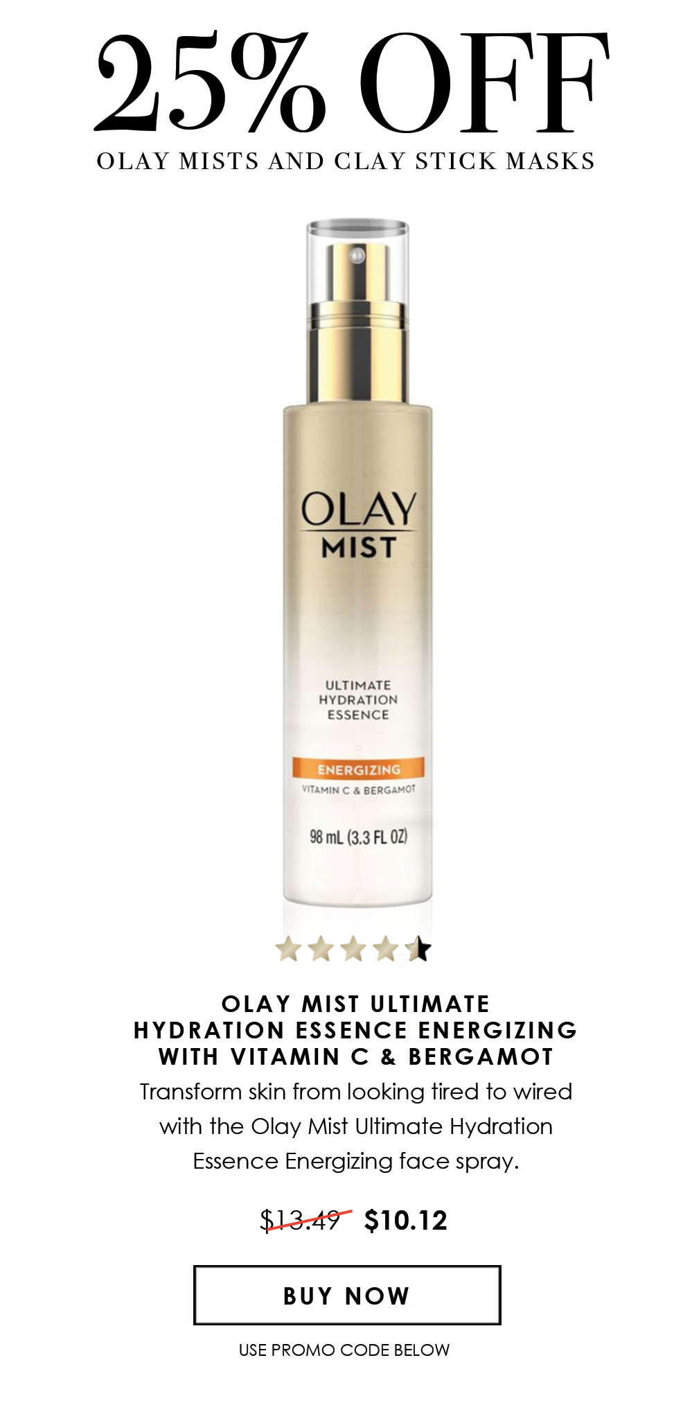25% Off Olay mists and stick masks
