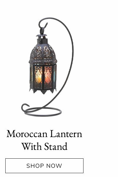 Curled Metal Stand with Rainbow Moroccan Candle Lantern | SHOP NOW