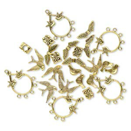 """Bead / charm / drop, antique gold-finished """"pewter"""" (zinc-based alloy), 11x9mm-29x23mm single- and double-sided assorted bird. Sold per pkg of 25."""