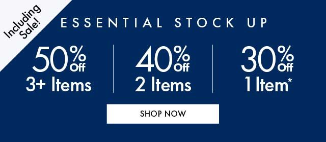 50% Off 3+ | 40% Off 2+ Items MG