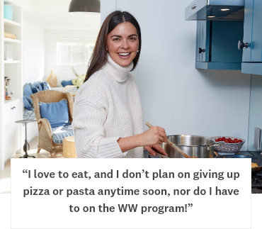 I love to eat, and I don't plan on giving up pizza or pasta anytime soon, nor do I have to on the WW program!