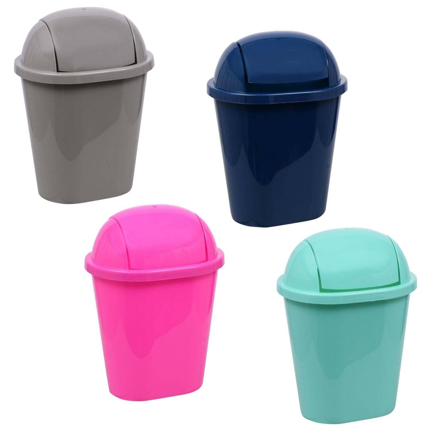 Brightly Colored Swing-Top Wastebaskets