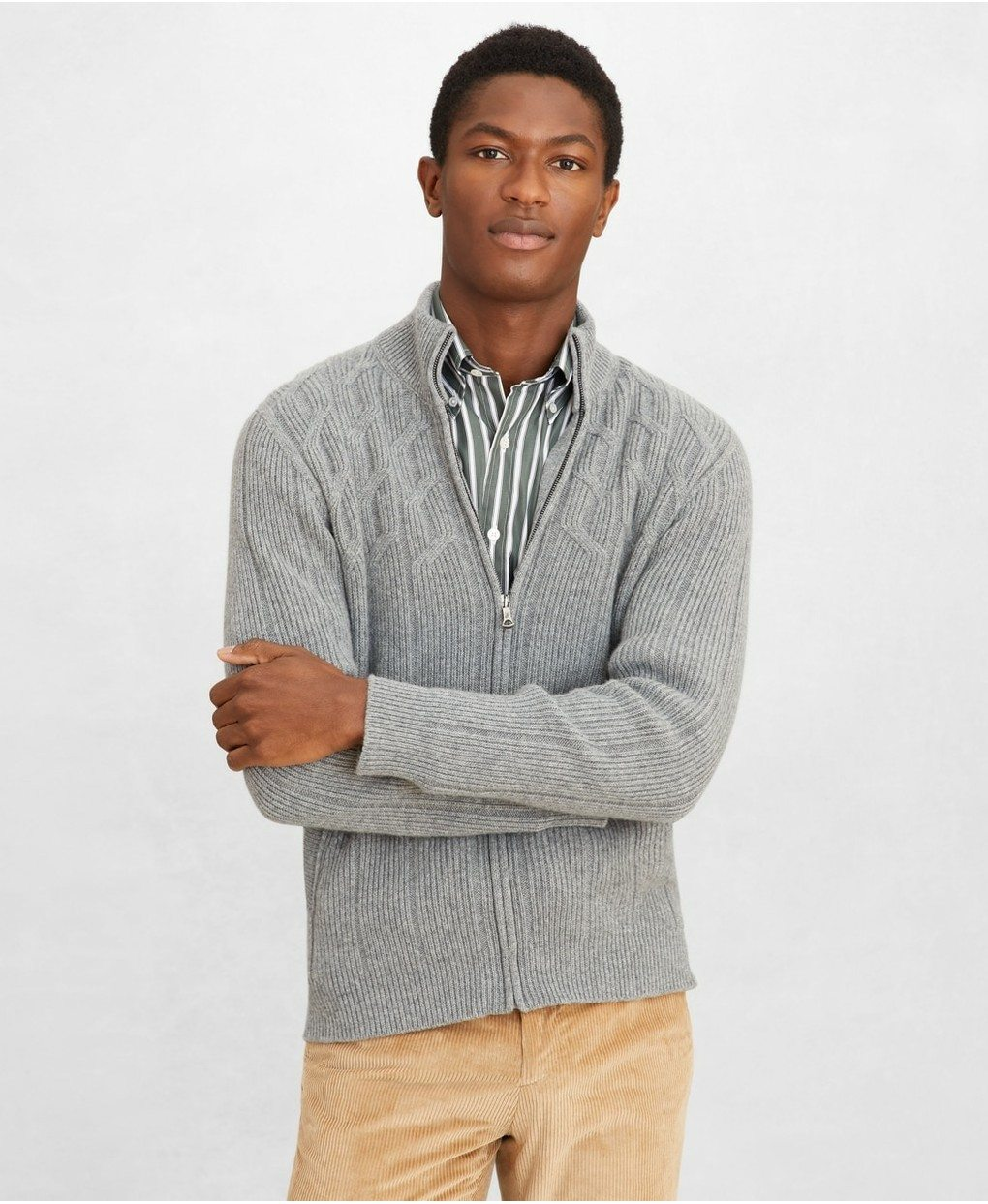 Golden Fleece® Cashmere Zip-Up Cable-Knit Sweater