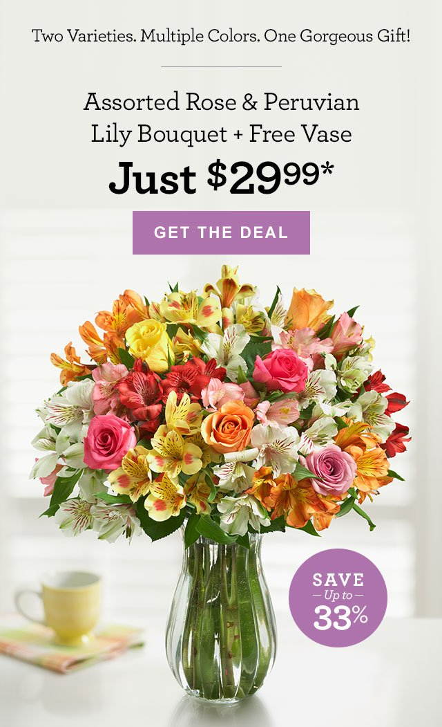 Two Varieties. Multiple Colors. One Gorgeous Gift! Assorted Rose & Peruvian Lily Bouquet