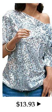 Skew Neck Sequins Decorated Silver T Shirt