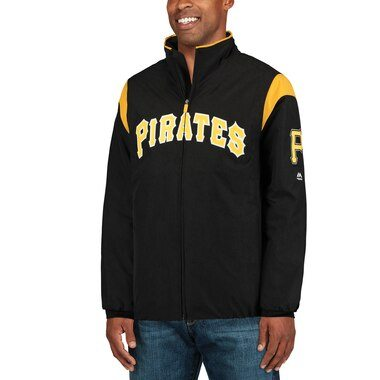 Majestic Pittsburgh Pirates Black On-Field Therma Base Thermal Full-Zip Jacket