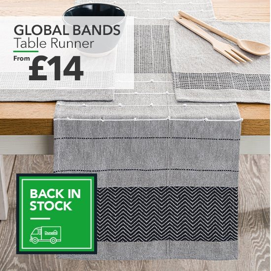 Global Bands Grey 100% Cotton Table Runner