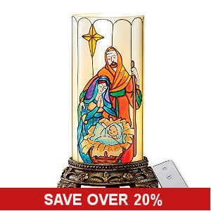 Beautiful Stained Glass Nativity Flameless Candle