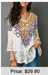 Lace Patchwork Three Quarter Sleeve White Blouse