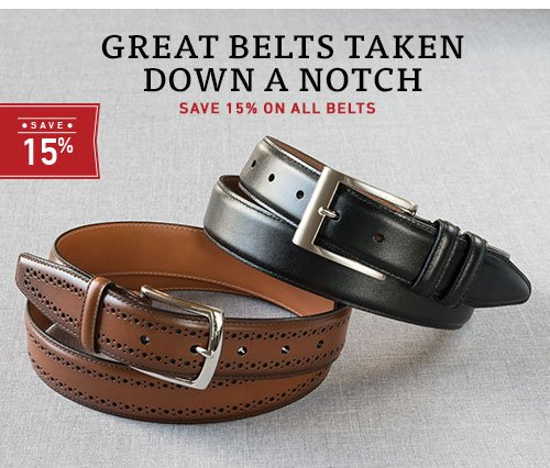 Save 15% on all belts