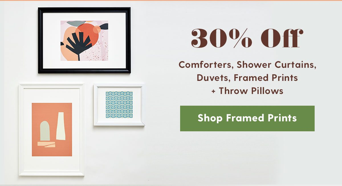 30% Off Comforters, Shower Curtains, Duvets, Framed Prints + Throw Pillows >