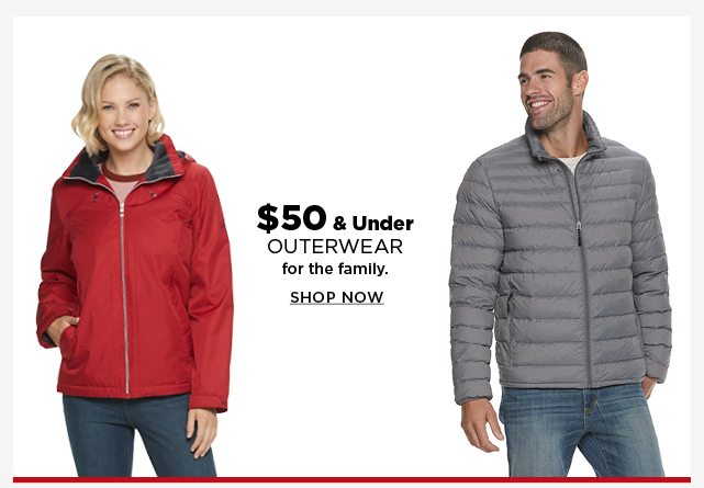 $50 and under outerwear for the family. shop now.