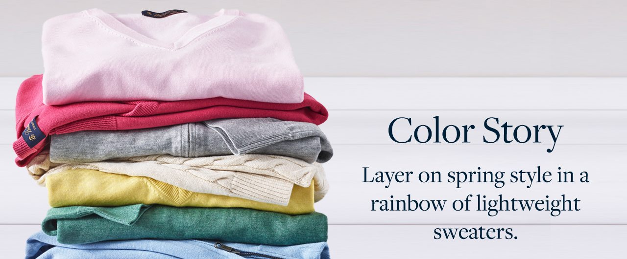 Color Story Layer on spring style in a rainbow of lightweight sweaters.