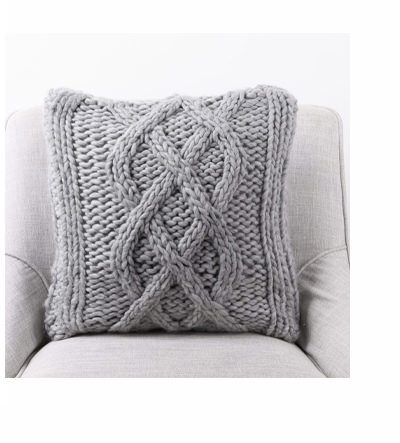 Gray Handmade Acrylic Cable Knit Pillow Cover