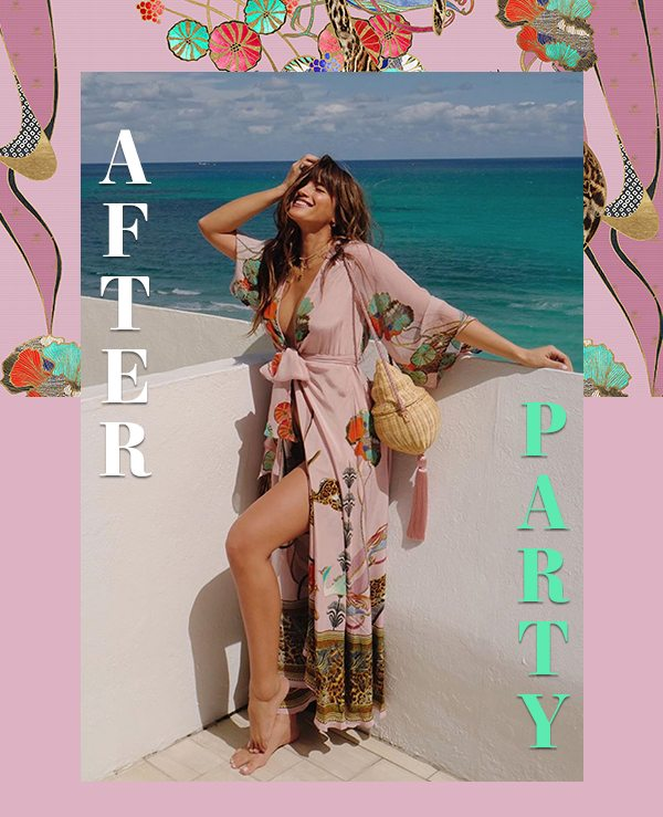 AFTERPARTY   Pink and floral wrap dress