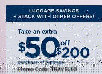Take an extra $50 off $200 purchase of luggage with promo code TRAVEL50. shop now.
