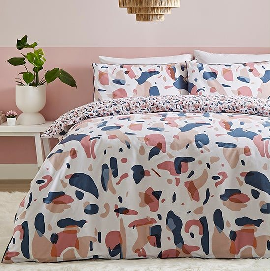 Terazzo Pink Abstract 100% Cotton Reversible Duvet Cover Set