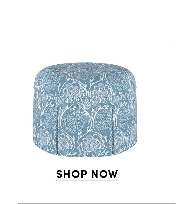 Liza Skirted Ottoman, Floral French Blue