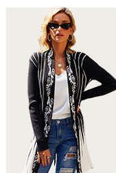 Open Front Long Sleeve Striped Cardigan