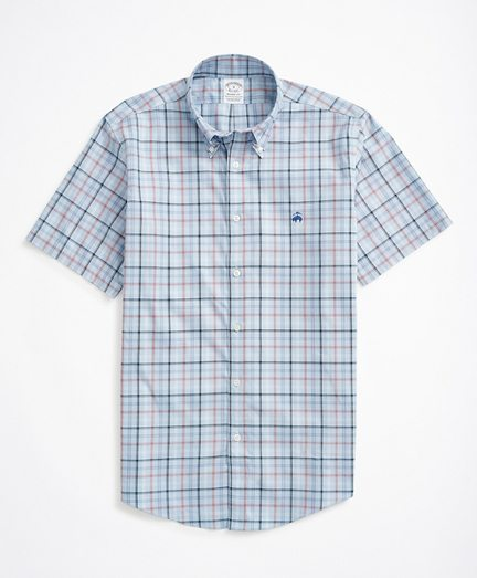 Stretch Regent Fitted Sport Shirt, Non-Iron Short Sleeve Plaid