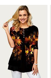 Printed Button Front Half Sleeve T Shirt