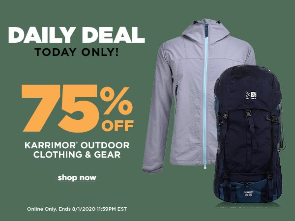 Daily Deal: 75% OFF Karrimor Outdoor Clothing & Gear - Online Only - Click to Shop