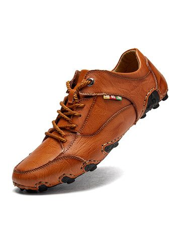 Men Hand Stitching Leather Driving Shoes
