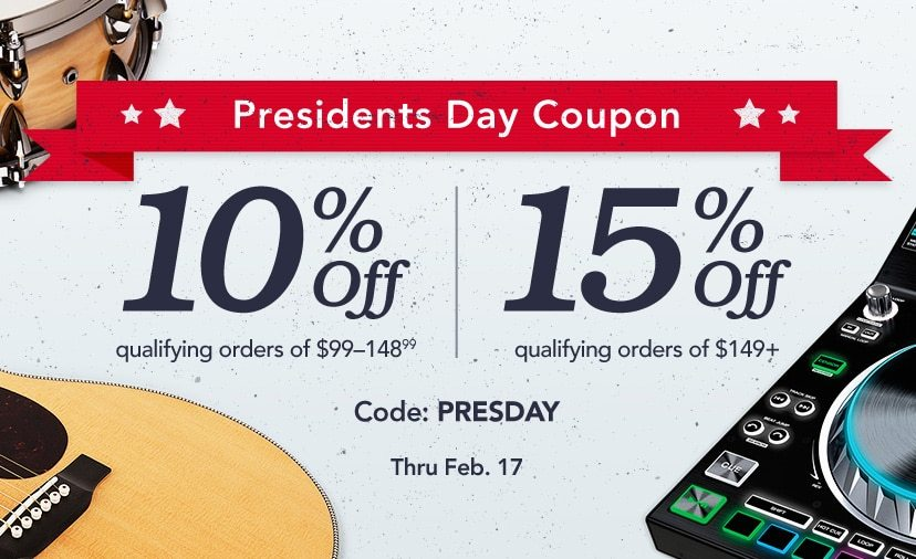 Presidents Day Coupon. 10% off qualifying orders of $99-148.99. 15% off qualifying orders of $149+. Code: PRESDAY. Shop Now. Thru Feb. 17